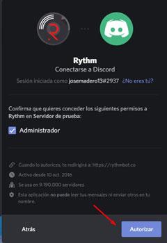 colocar bots de música en Discord autorizar rythm