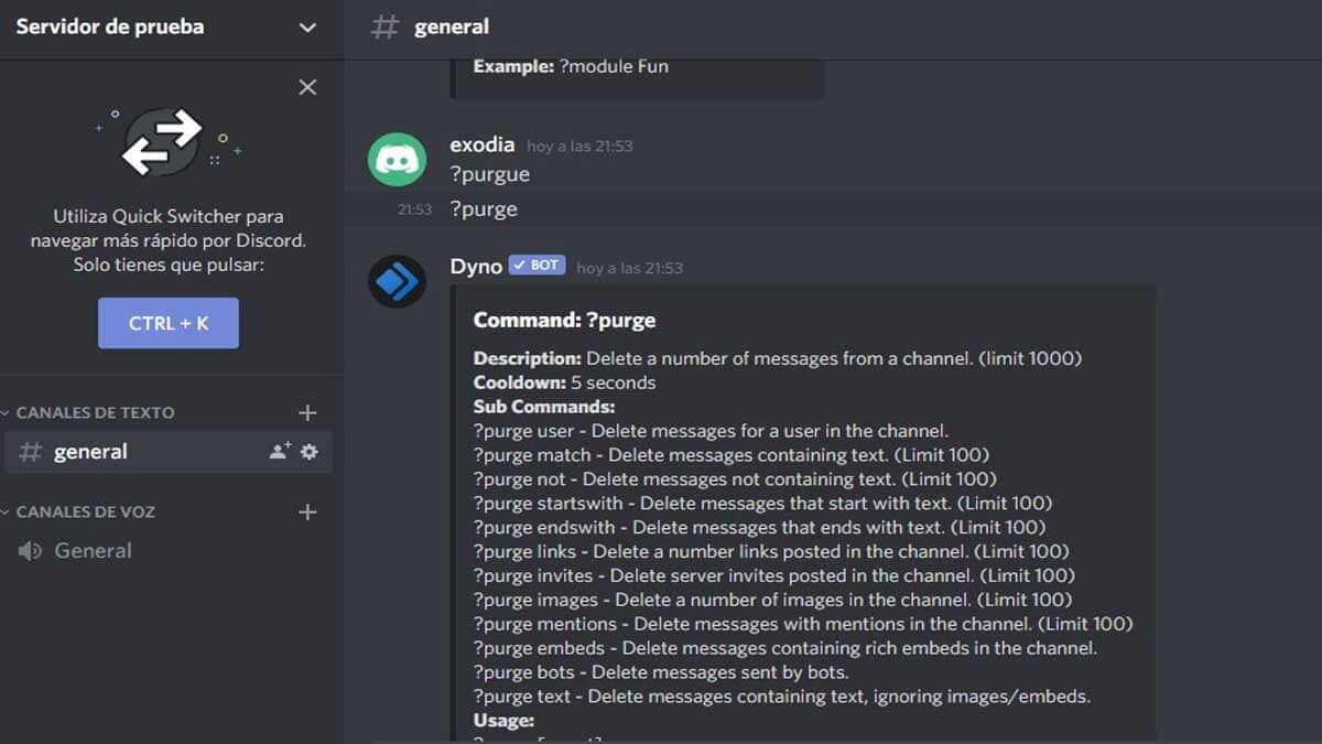 comandos para discord