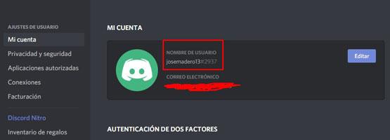 discord id en ajustes de usuario