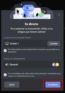 compartir y trasmitir pantalla en discord
