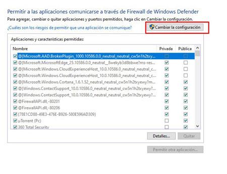 cambiar configuración firewall