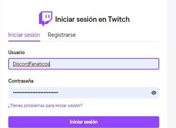 Iniciar sesión en twitch