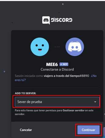 seleccionar servidor para agregar bot a discord