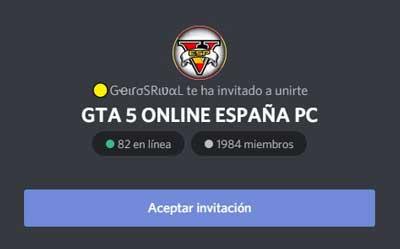 gta v online españa pc es uno de los mejores servidos discord de gta v