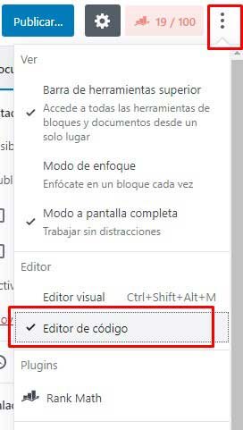 editor de código en wordpress