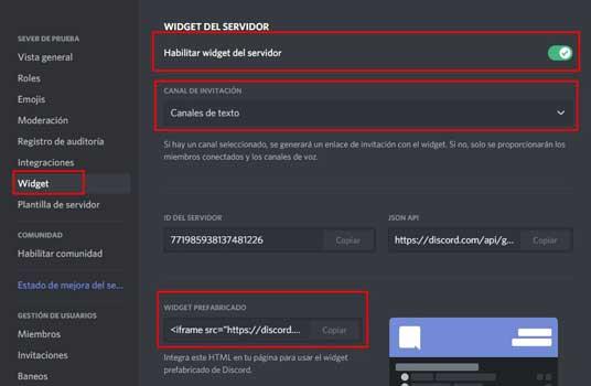 widget de servidor de discord