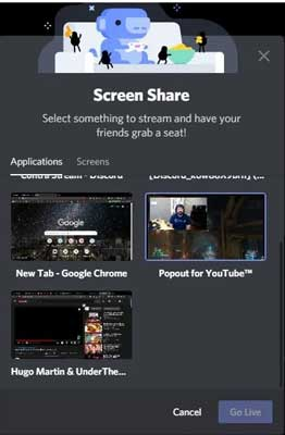 compartir pantalla en discord go live