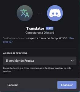 añadir Bot Traductor de Discord